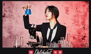 """Image: Dalshabet's Ayoung working in chemistry lab for """"FRI.SAT.SUN"""" EP concept / Happy Face Entertainment"""