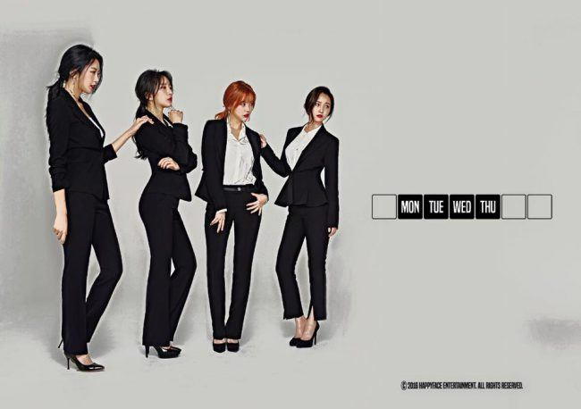 "Image: Dalshabet in their work suits for the weekday, concept photos from ""FRI.SAT.SUN"" EP / Happy Face Entertainment"