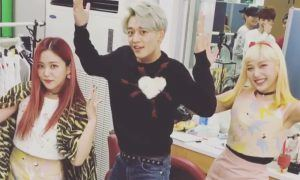 """Image: SHINee's Minho dancing to Red Velvet's """"Russian Roulette"""" on Red Velvet's Instagram"""