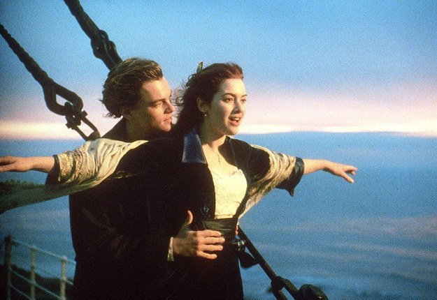 Leonardo Di Caprio and Kate Winslet from the movie, Titanic.