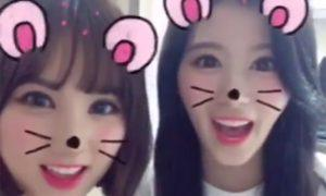 Image: GFRIEND's Eunha and TWICE's Sana playing with Snap's filters