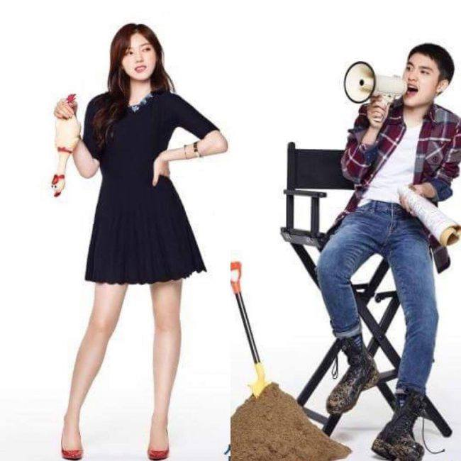 "Actress Chae Seo Jin & EXO D.O. portraying their characters' personalities for ""Positive Physique""/ Image Source: Samsung"