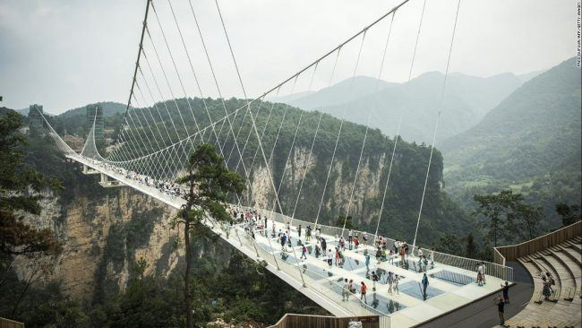 Strut along the glass bridge if you dare!