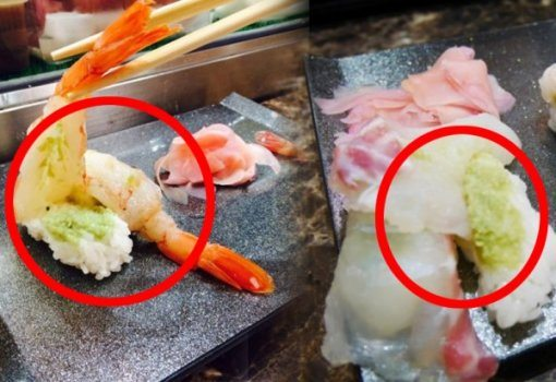 Photos of sushi with a crazy amount of wasabi underneath / Image Source: Donga