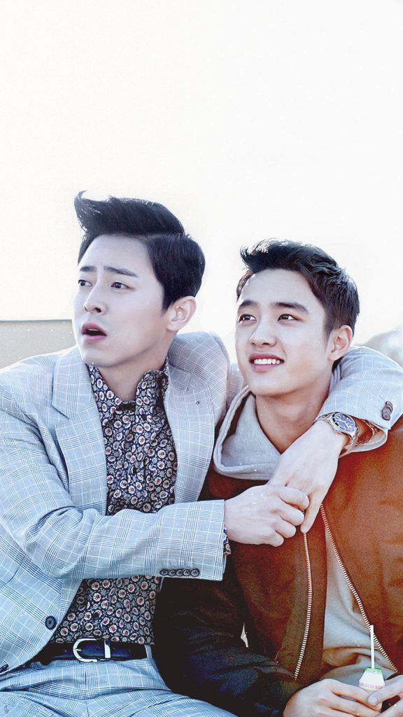 Actor Jo Jung Suk & EXO's D.O. enjoying the view on a rooftop/ CJ Entertainment