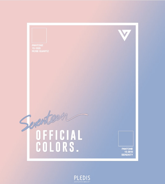 Seventeens Official Colors: Rose Quartz(PANTONE 13-1520) & Serenity(PANTONE 15-3919)