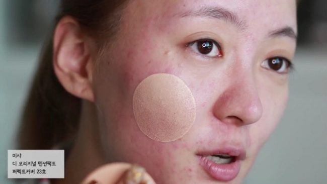 Calary Girl Shows Missha Tension Pact Blemish Coverage
