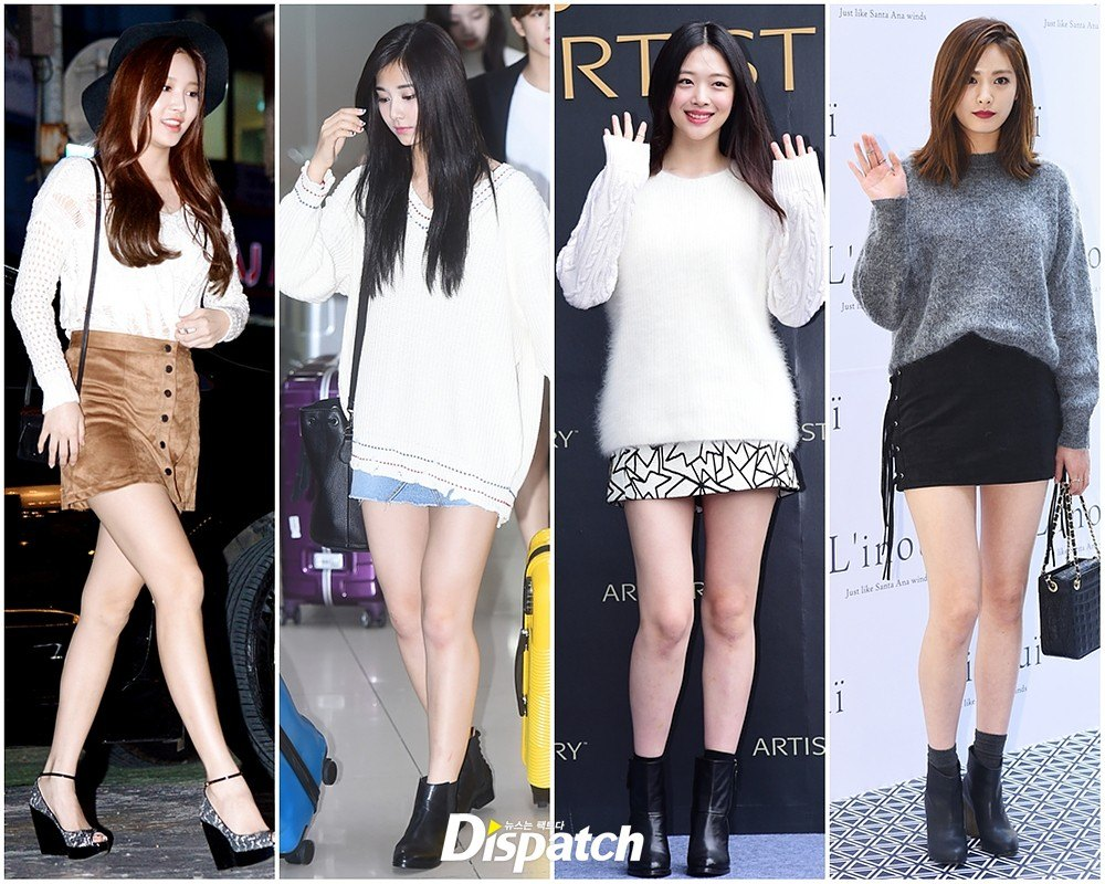 K Pop Idols Show Off The Latest In Korean Fall Fashion Trends Knitwear And Skirts Koreaboo
