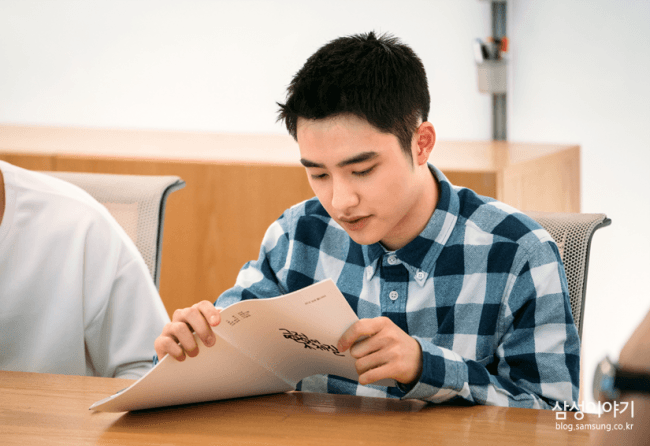 "EXO's D.O script reading for ""Positive Physique""/ Image Source: Samsung"