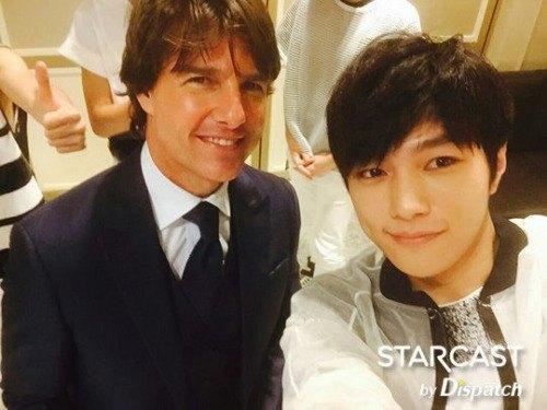 Infinite member Myungsoo with Tom Cruz