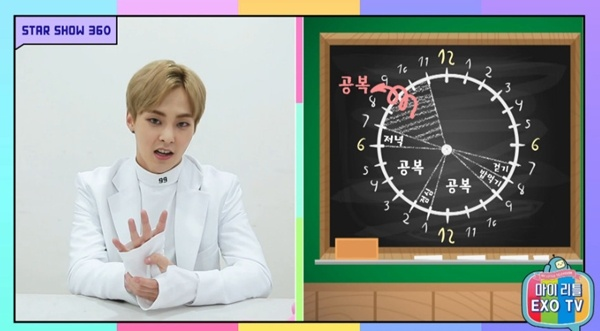 Xiumin unveils his hourly calendar to his diet / Image source: MBC Music