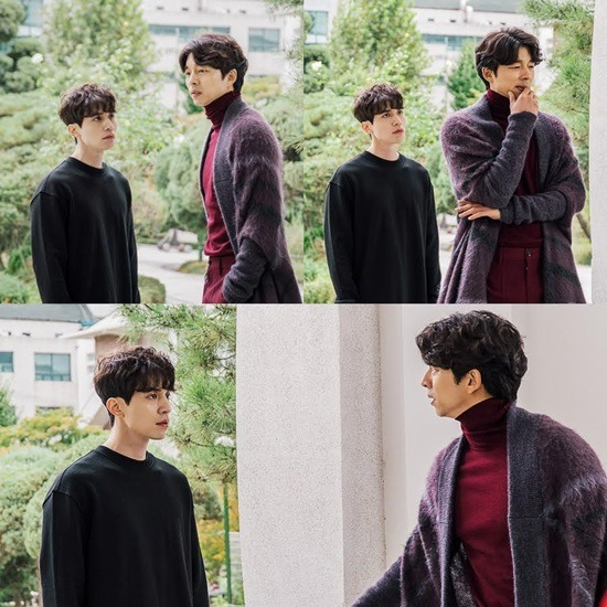 Gong Yoo and Lee Dong Wook on set of Goblin, rehearsing their scene