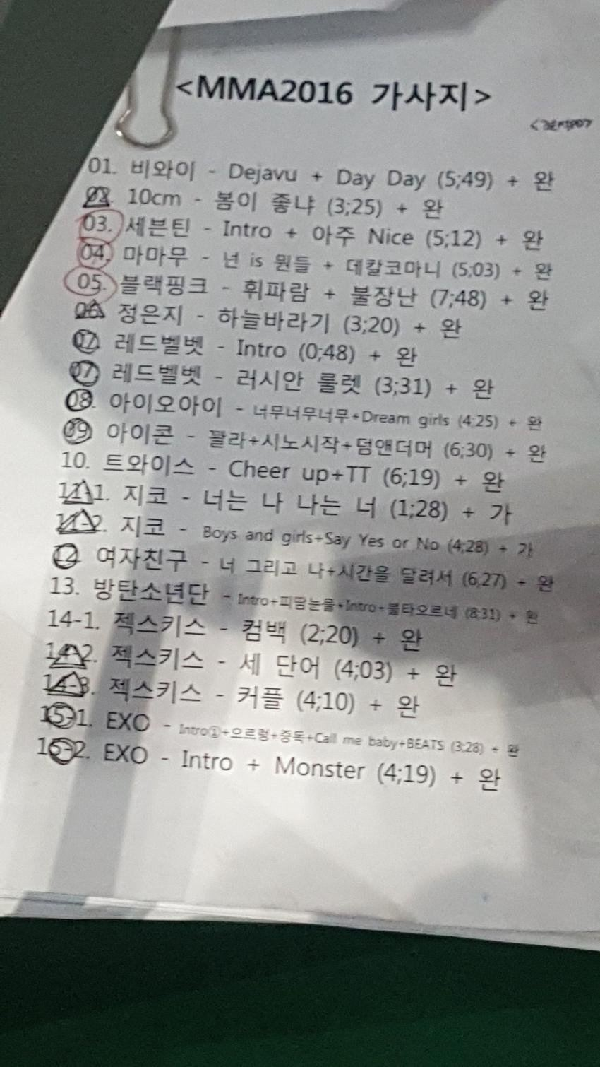 Melon Music Awards performance lineup and timing. / Source: Naver