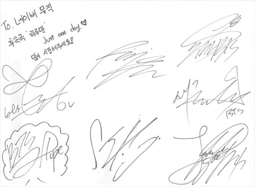 Compare the autographs above with these authentic autographs that the BTS members provided for Naver Music