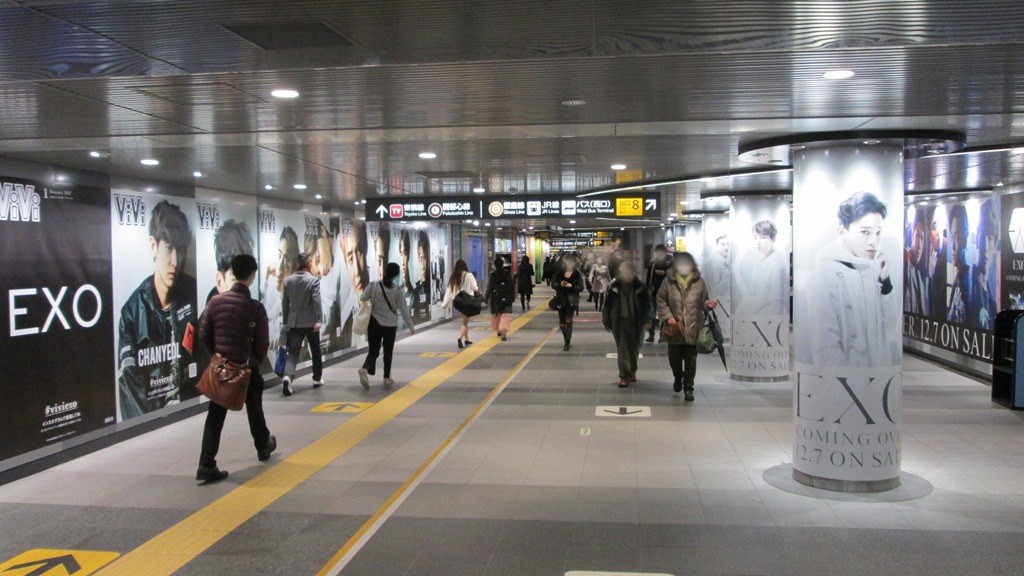 EXO's invidual photos are also on the pillars in Shibuya Station / EXO-JP