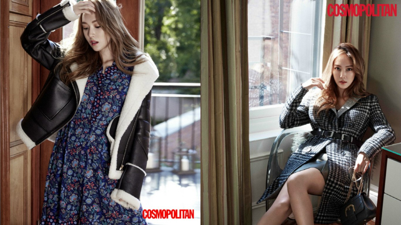 Jessica proves that you can mix and match the trends of seasons. She layers the floral dress with a leather coat lined with wool for warmth. On the right, she dawns yet another trench coat paired with a belt to highlight her slim waist with sensual sophistication.