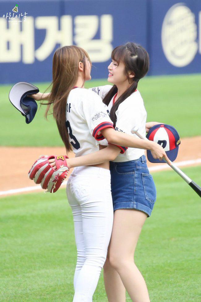 Yooa and Arin cute and huggable at a baseball match