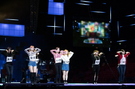 "Twice doing their popular point dance move ""TT"""