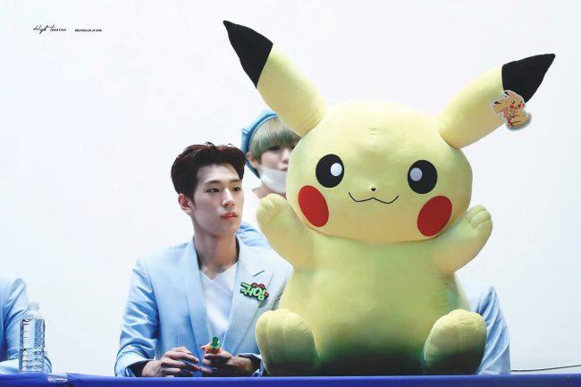 The way he gazes at that giant Pikachu you'd think it was his girlfriend!