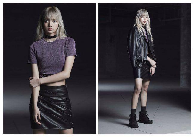 Lisa sports a purple top and black leather skirt. / Source: One Hallyu