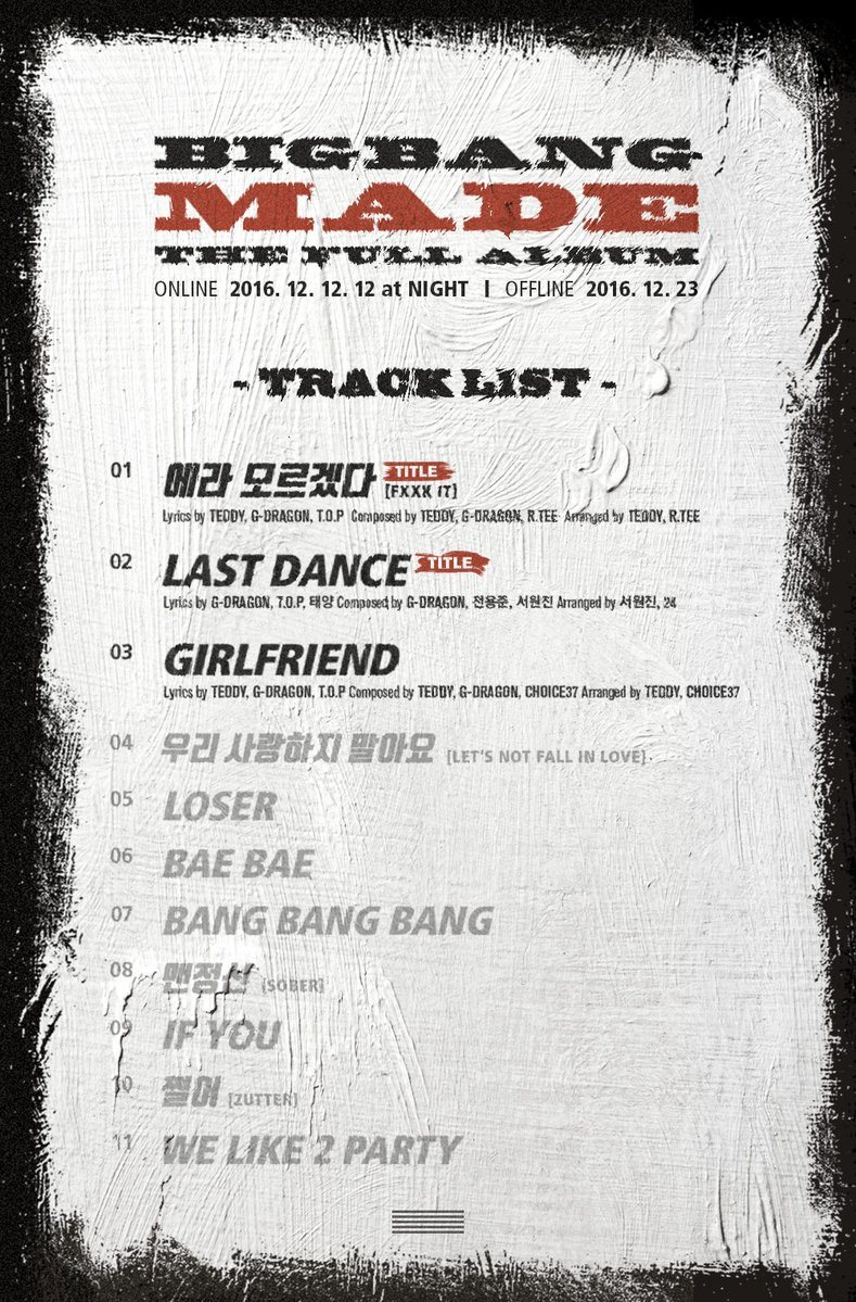 Full tracklist for MADE includes old and new songs! / Source: