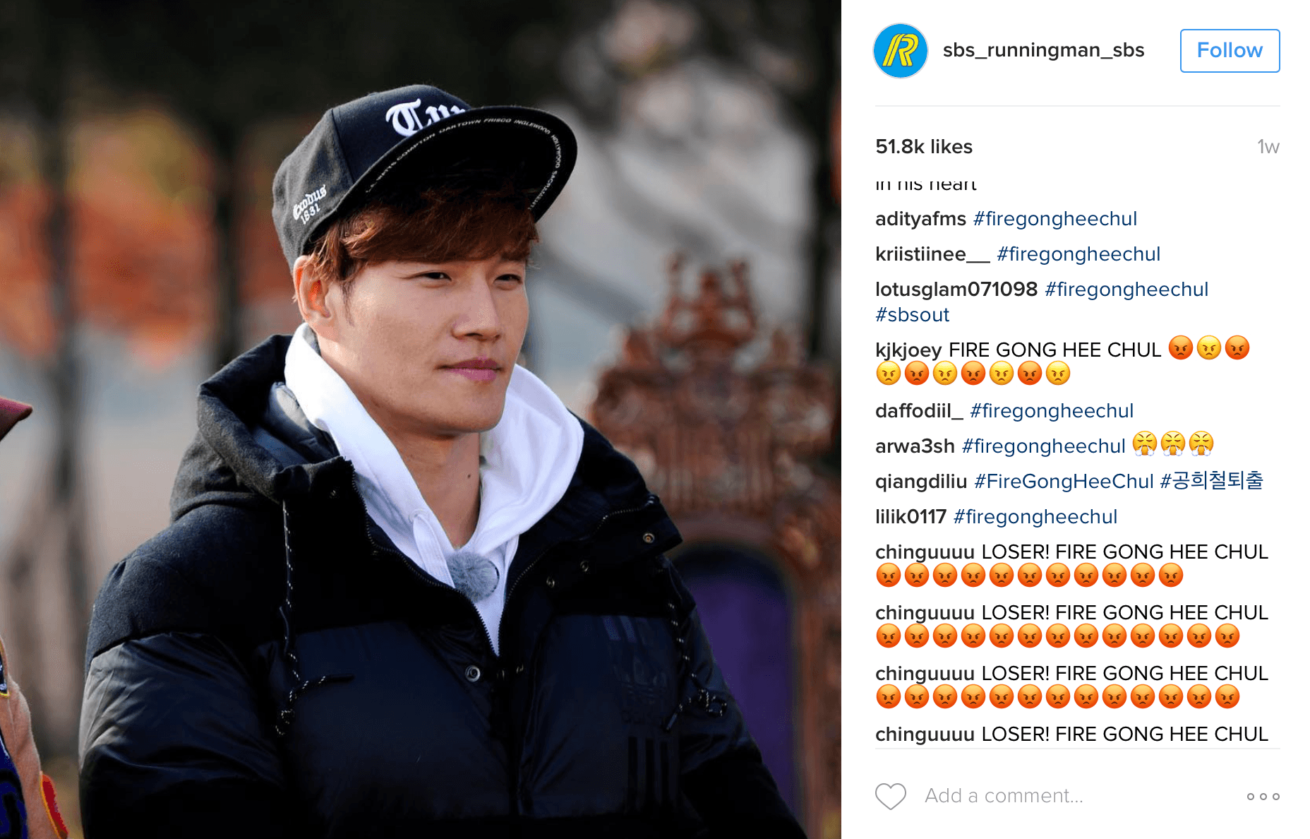 Fans are repeatedly posting on all photos by Running Man demanding answers.