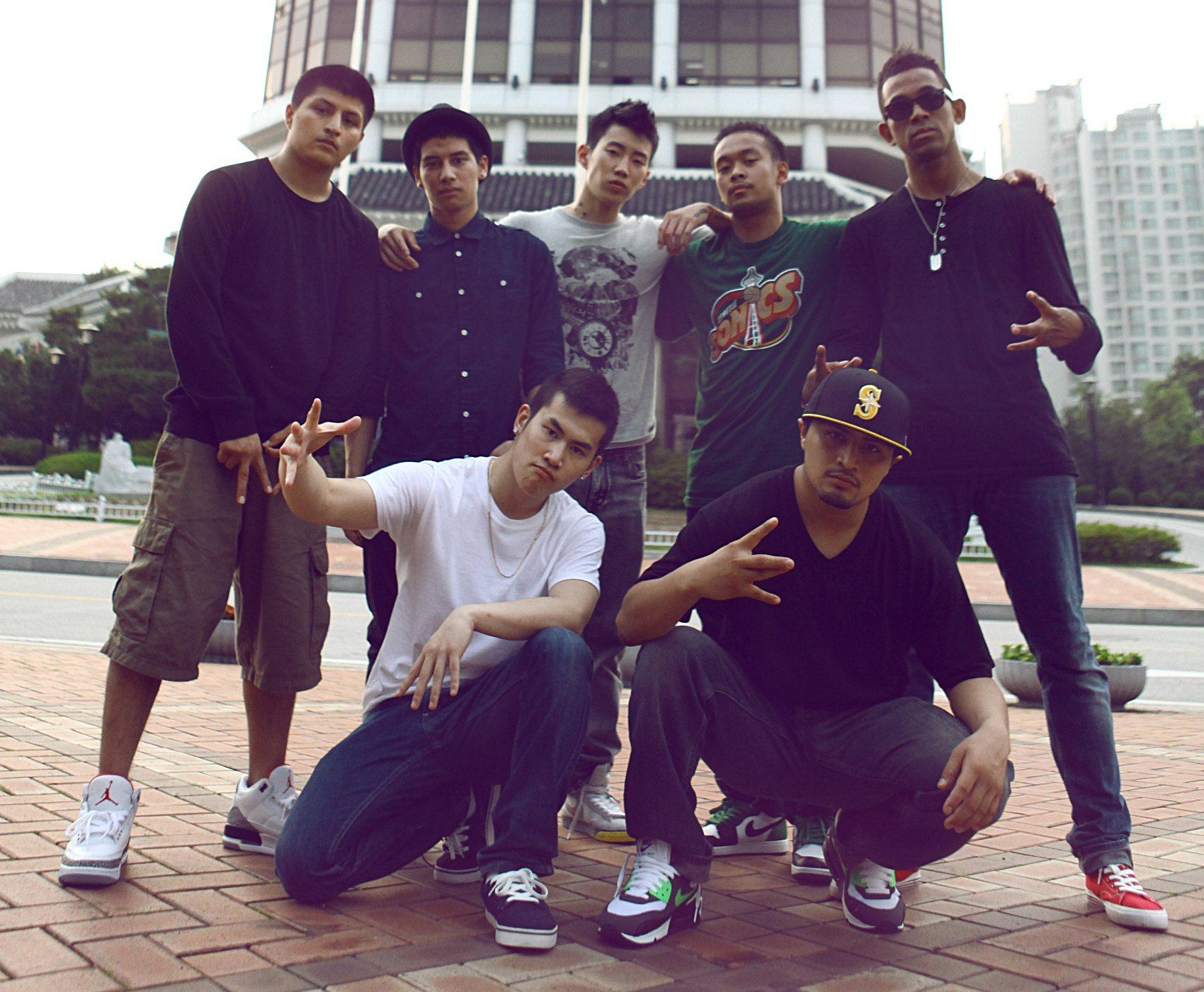 Jay Park and the members of the bboy crew he belongs to, Art of Movement, in 2012.