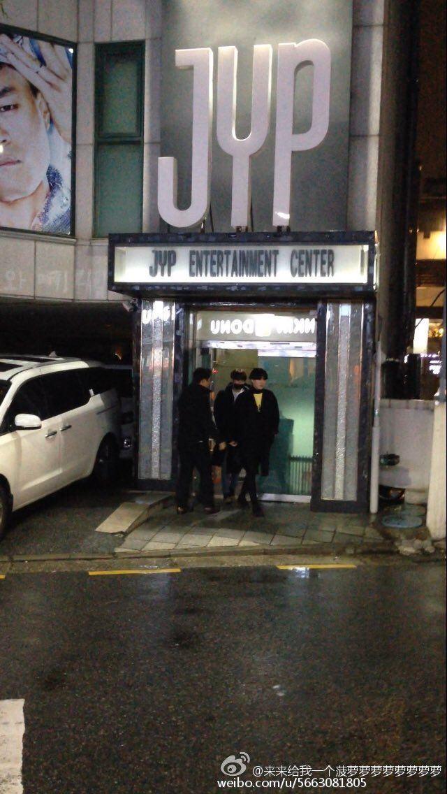 Jungkook picking Yugyeom up from JYP.