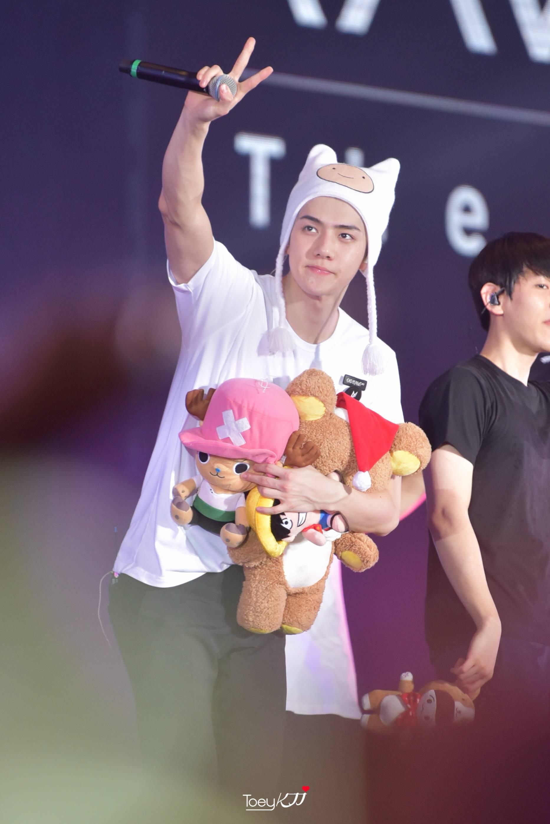 Sehun holding toys