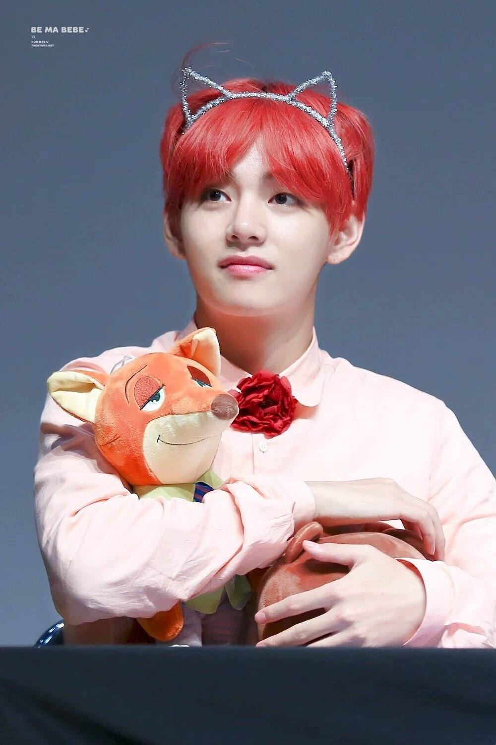Taehyung holding a soft toy.