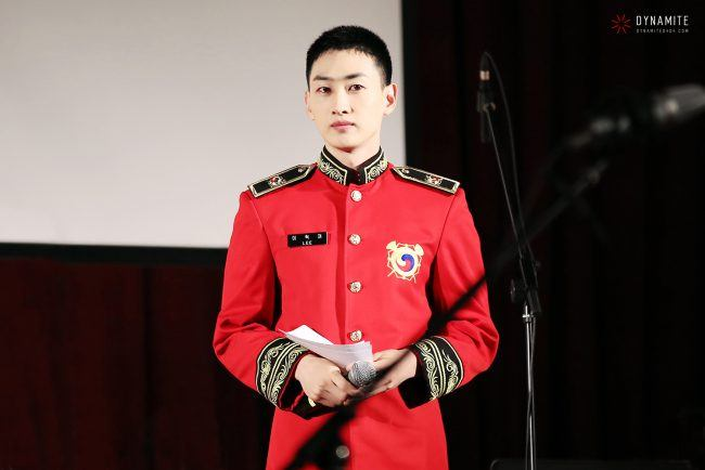 Eunhyuk plays the trumpet in the military band.