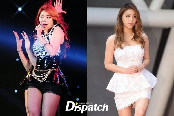 Ailee before and after her weight loss regime.