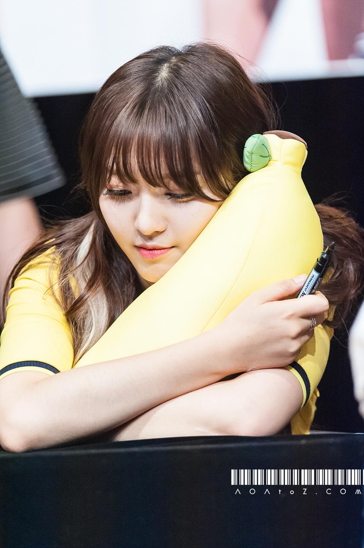 Chanmi cuddling a banana