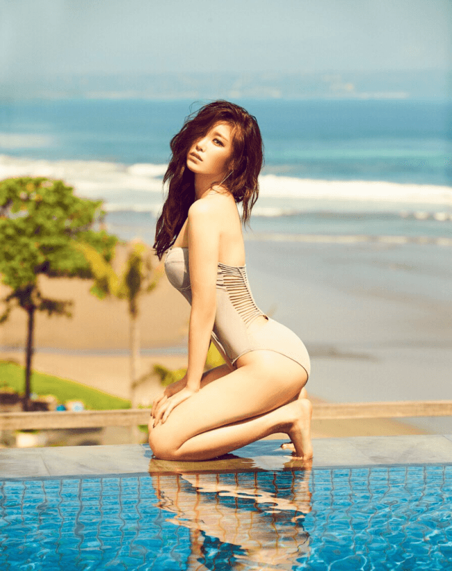 hyosung modeling next to a pool