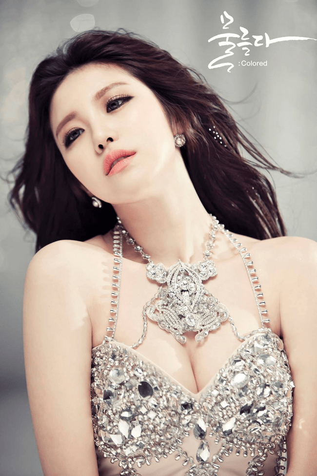 hyosung modeling in a fancy dress.