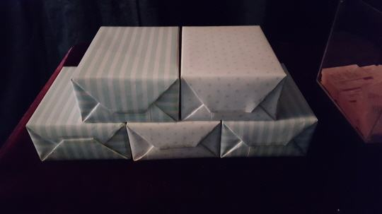 Chanyeol's finished gift wrapping of perfumes for his fans.