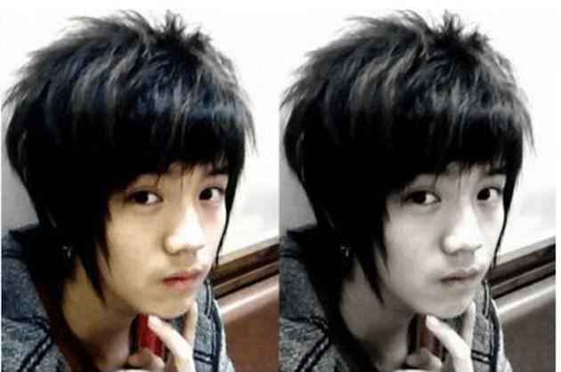 """Pre-debut Luhan rocks the """"emo-boy"""" wolf hair look."""