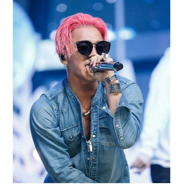 Taeyang with pink hair