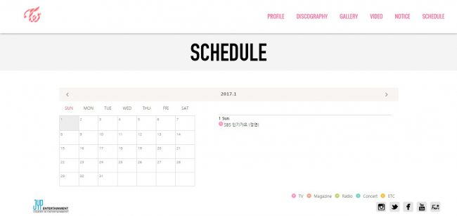 TWICE only has 1 official schedule this month so far