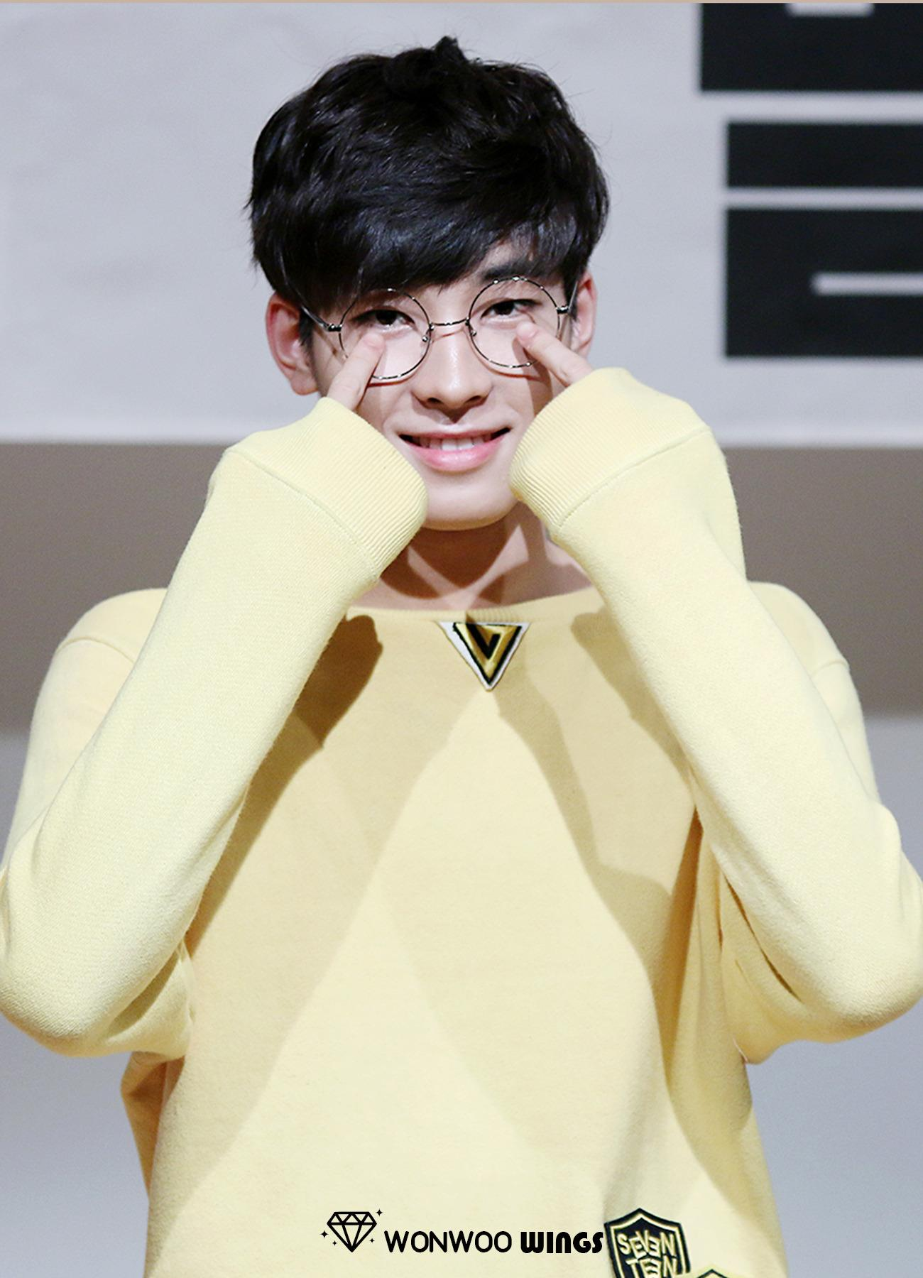Wonwoo proves that his glasses are really for his bad vision by touching them.
