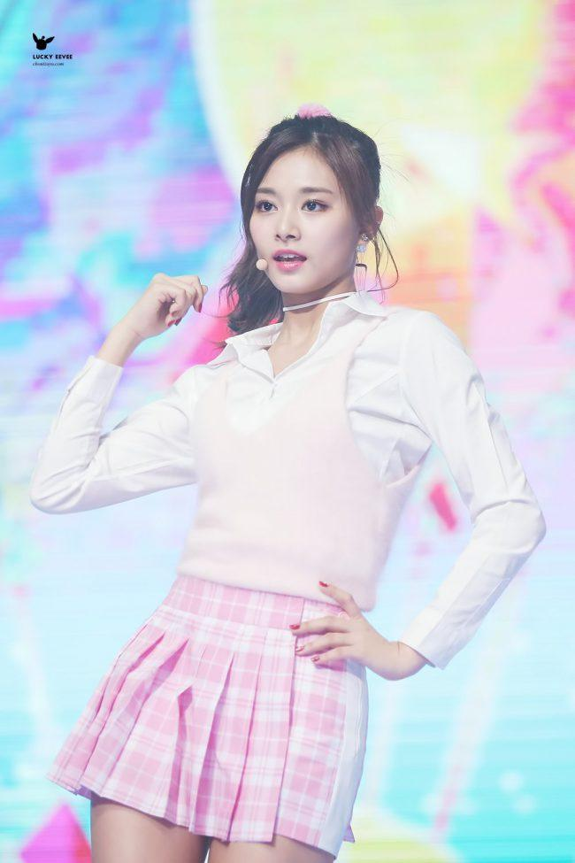 Tzuyu during her recent collaboration performance with EXID's Hani and AOA's Seolhyun