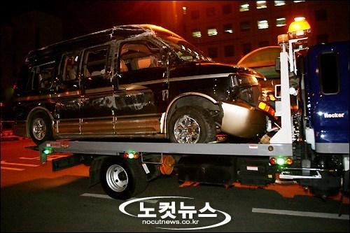 Mobil yang dikendarai Cho Kyuhyun dan 3 member Super Junior lainnya ketika kecelakaan pada 2007 silam