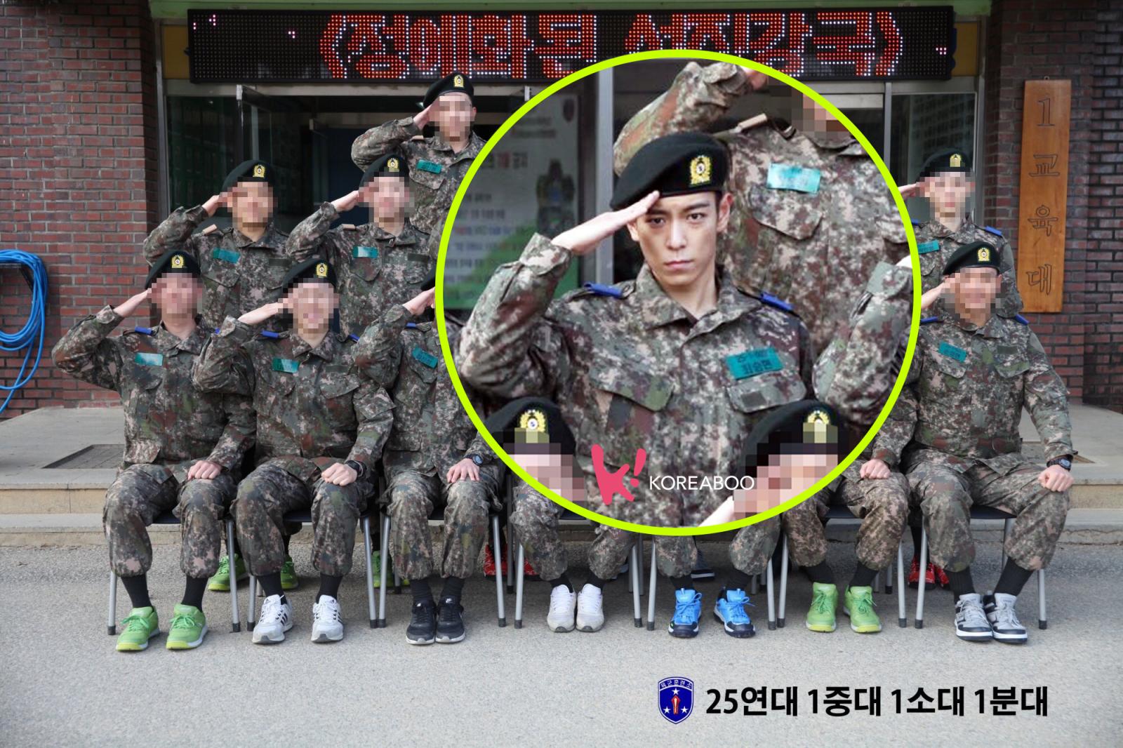 T.O.P mengenakan seragam militer