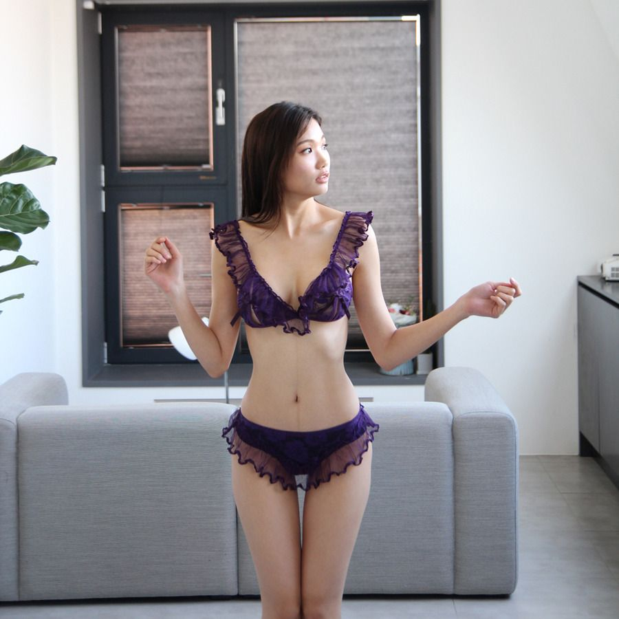 Lee Hee Eun wears a self-designed purple lingerie set