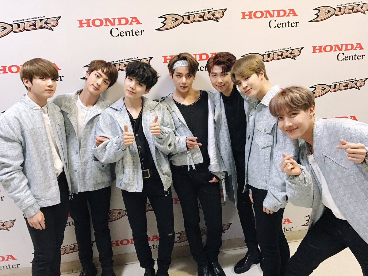 BTS Received Customized Jerseys From The Anaheim Ducks Executive VP