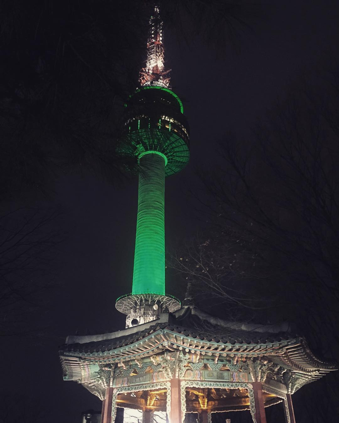 N Seoul Tower berwarna hijau