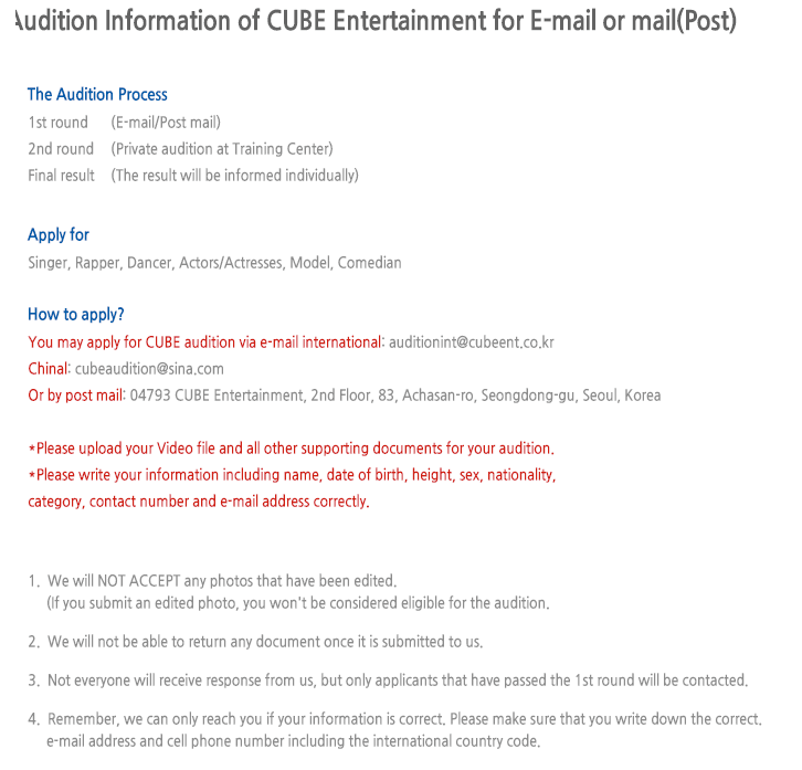 Cube Entertainment to Hold World-Wide Auditions - Koreaboo