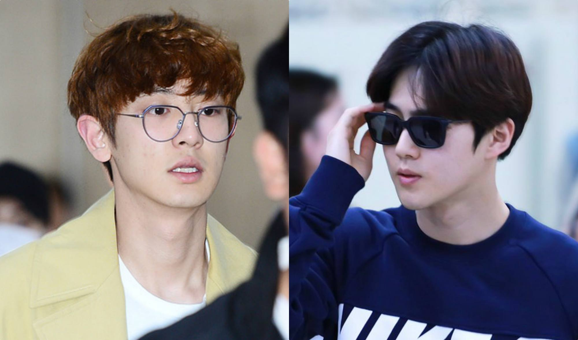 EXOs Suho and Chanyeol at the airport without makeup