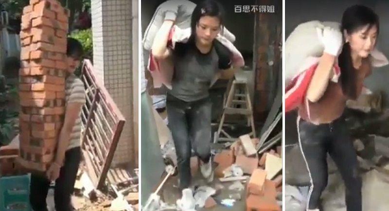 Perempuan yang bekerja sebagai kuli bangunan