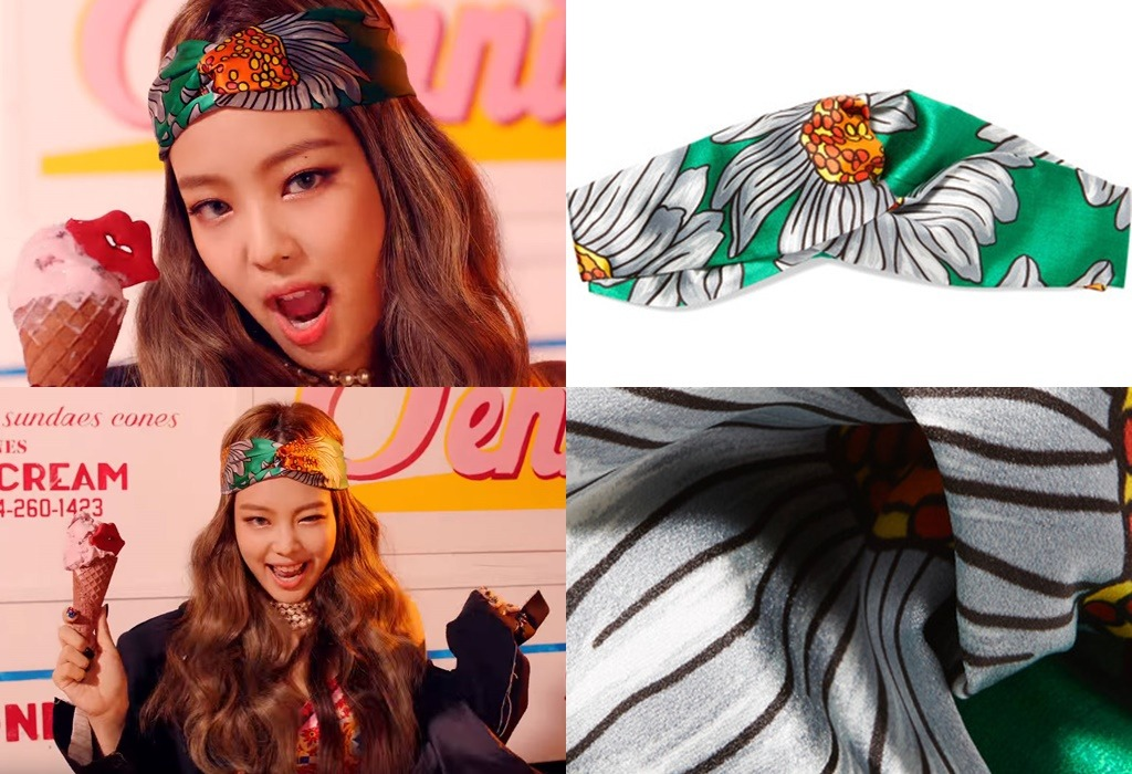 Jisoo s Anna Sui Fringed Printed Cotton   Silk-Blend Mini Dress –  411 USD.  Jennie s Gucci Twisted Printed Silk-Satin Headband –  360 USD 511927d9f